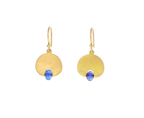 Blue Sapphire Lily Pad Earrings