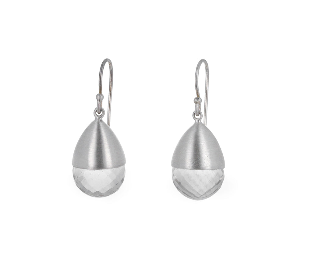 Faceted Quartz Buoy Earrings