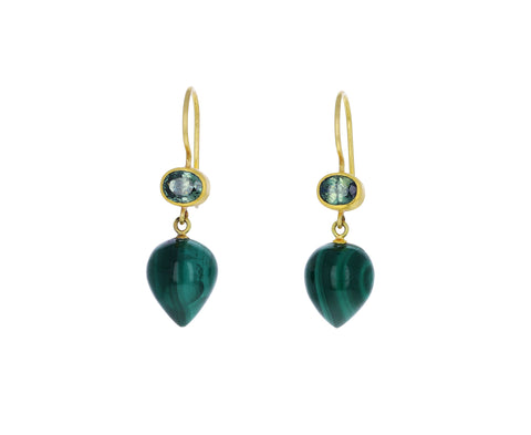 Green Sapphire and Pointed Malachite Apple and Eve Earrings