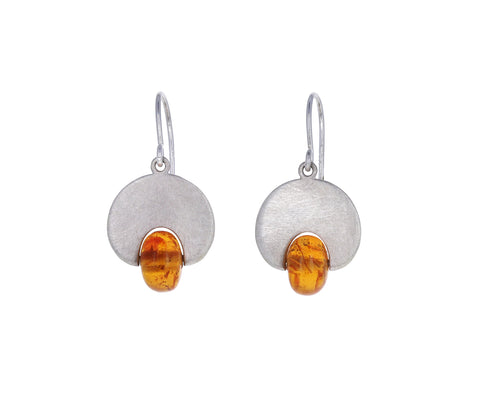 Cabochon Mandarin Garnet Lily Pad Earrings