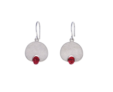 Red Spinel Lily Pad Earrings