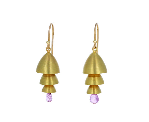 Pink Sapphire and Gold Triple Tier Bell Earrings