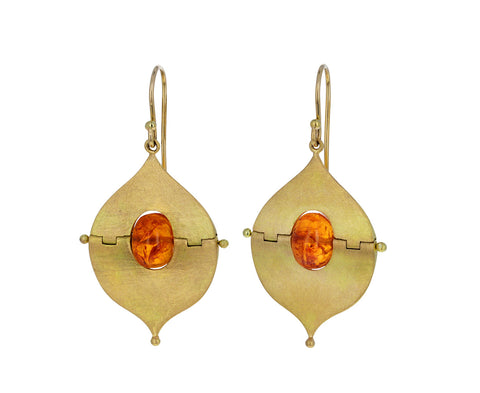 Mandarin Garnet Mesopotamian Earrings