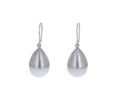Large White Onyx Buoy Earrings
