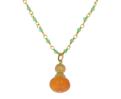 Ethiopian Opal and Chrysoprase Chess Pawn Buoy Necklace