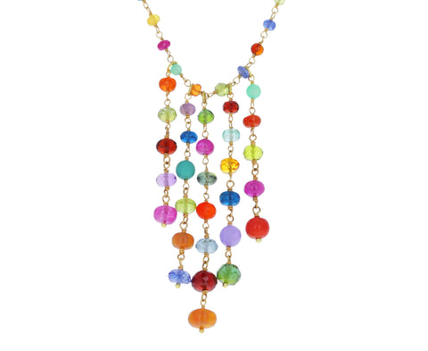 Mixed Gem Tassel Panel Necklace