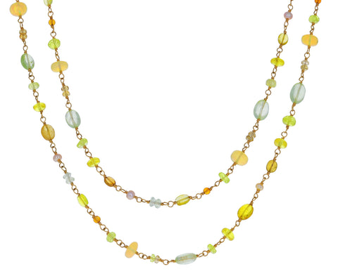 Green Tone Multi Gem Spun Sugar Necklace