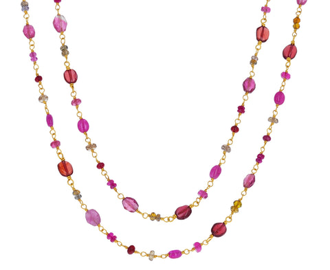 Red-Pink Multi Gem Spun Sugar Necklace