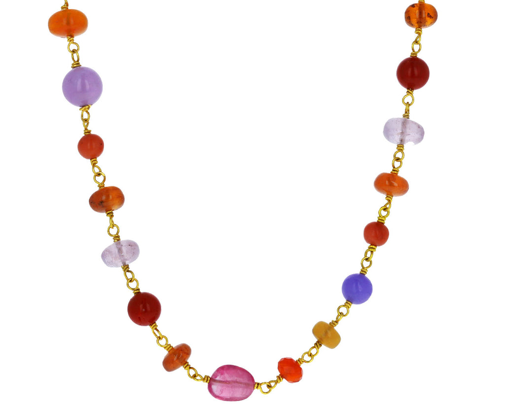 Orange and Pink Multi Gem Spun Sugar Necklace