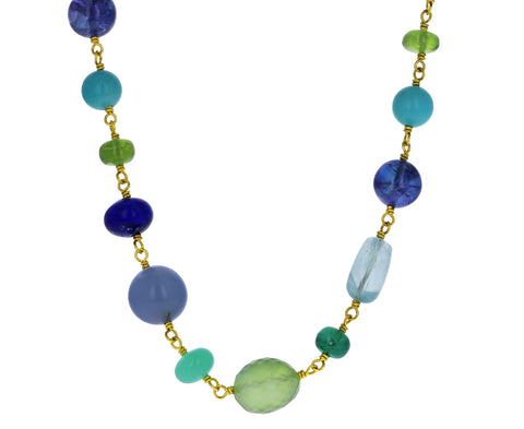 Cool Toned Multi Gem Spun Sugar Necklace