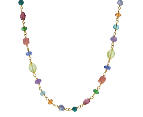 Rainbow Pastel Multi Gem Spun Sugar Necklace