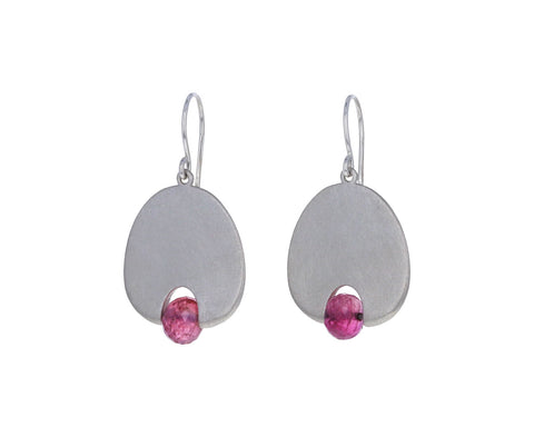 Mallary Marks Medium Pink Tourmaline Lily Pad Earrings