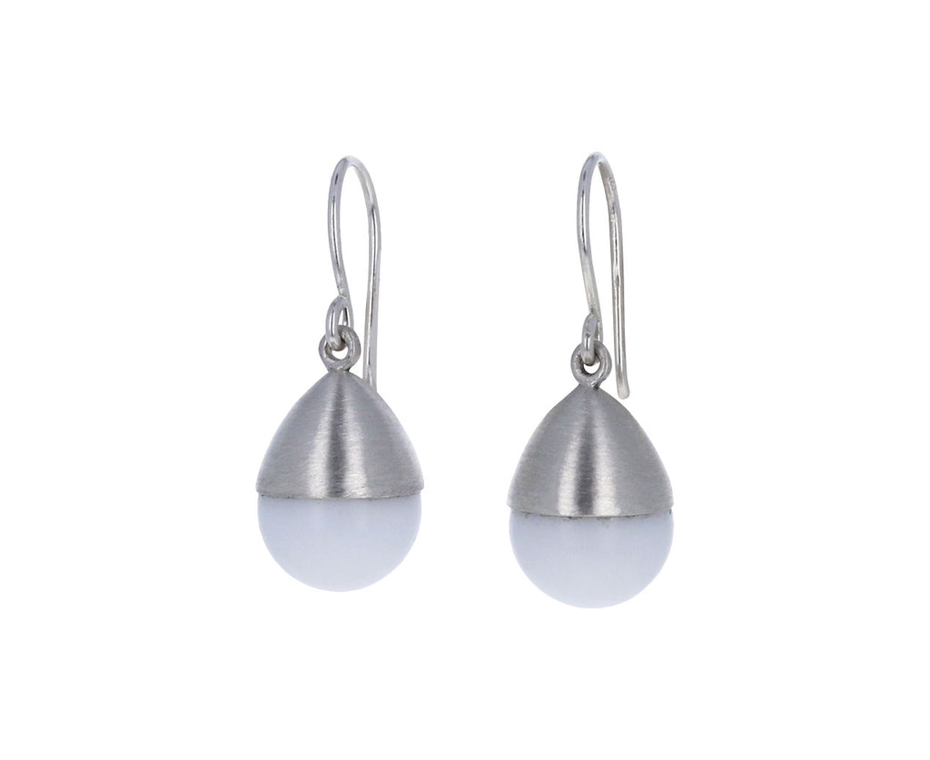 Mallary Marks White Agate Buoy Earrings