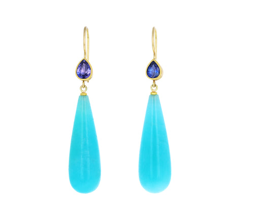Mismatched Sapphire and Amazonite Apple and Eve Earrings