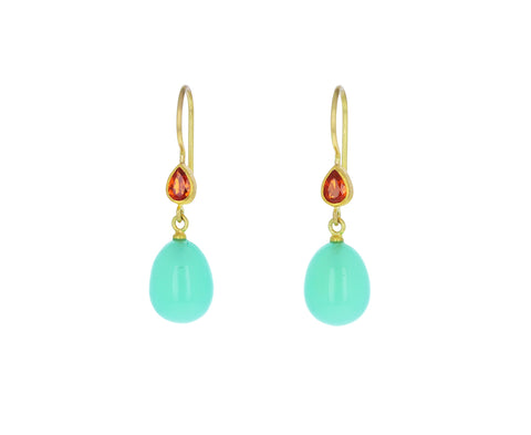 Mandarin Garnet and Chrysoprase Apple and Eve Earrings