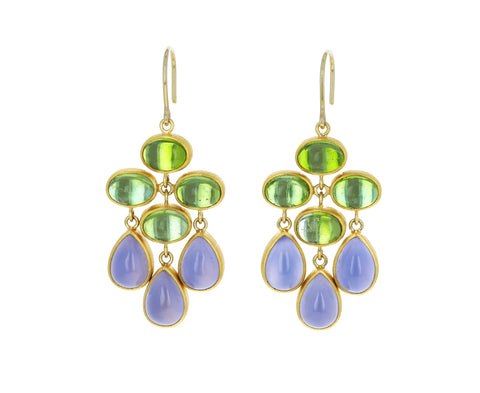Green Tourmaline and Blue Chalcedony Trapeze Earrings