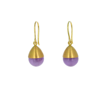 Milky Amethyst Buoy Bead Earrings