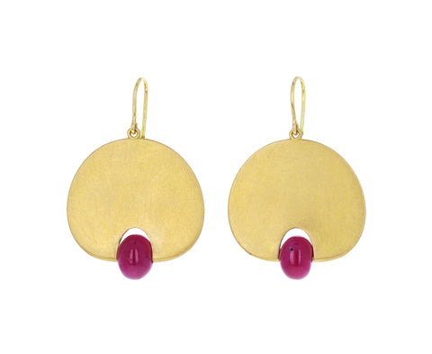 Ruby Lily Pad Earrings