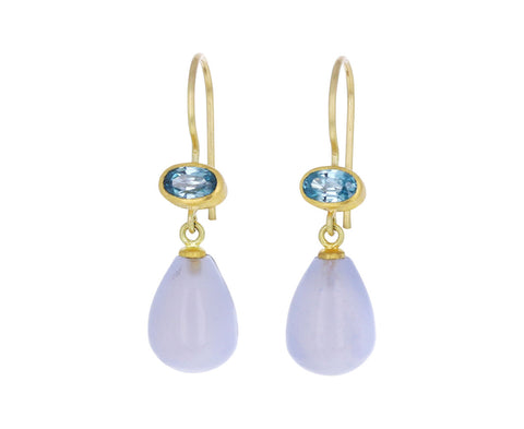 Light Blue Zircon and Blue Chalcedony Apple and Eve Earrings