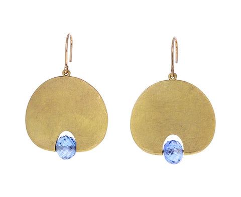 Large Light Blue Sapphire Lily Pad Earrings