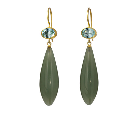 Tourmaline and Jade Apple and Eve Earrings