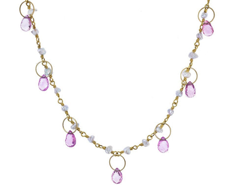 Keshi Pearl and Pink Sapphire Spun Sugar Necklace - TWISTonline