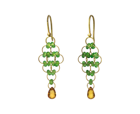 Sapphire and Tsavorite Kite Earrings
