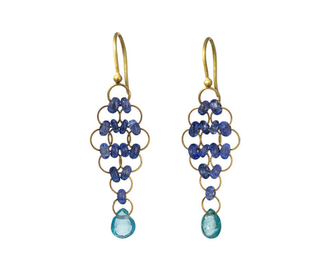 Sapphire and Apatite Kite Earrings