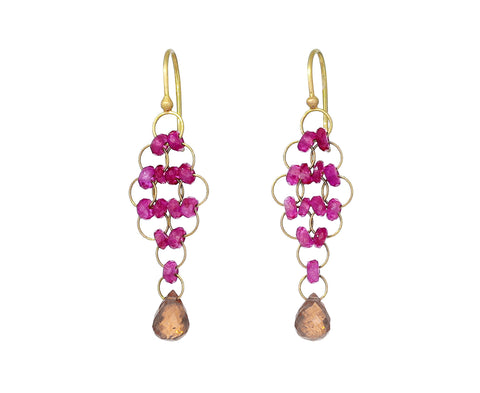Ruby and Mandarin Garnet Kite Earrings - TWISTonline