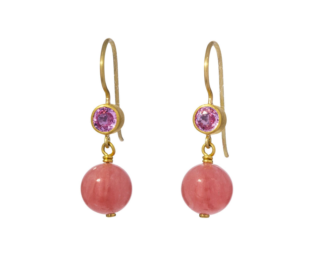 Pink Sapphire and Rhodocrosite Apple and Eve Earrings