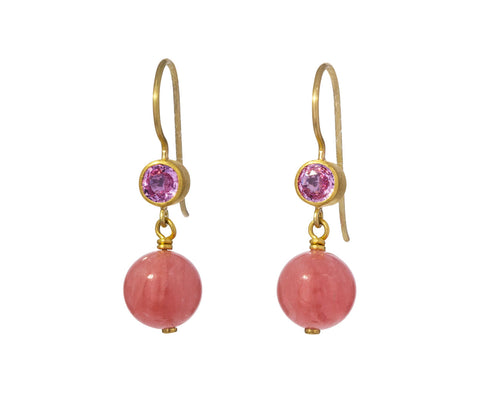 Pink Sapphire and Rhodocrosite Apple and Eve Earrings - TWISTonline