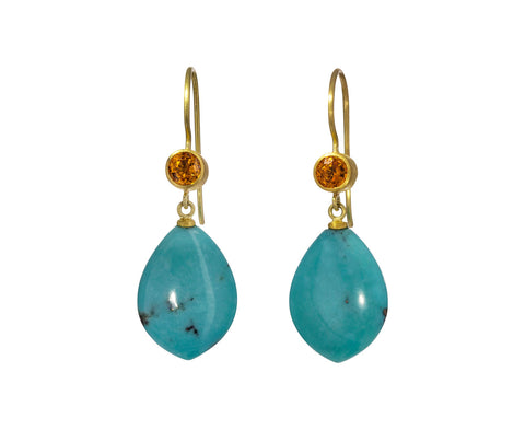 Turquoise and Orange Sapphire Apple and Eve Earrings