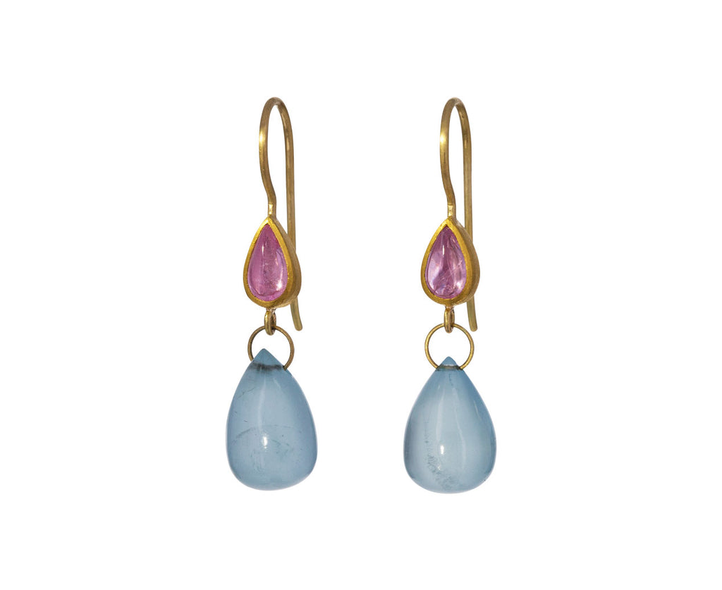 Sapphire and Aquamarine Apple and Eve Earrings