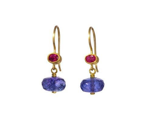 Pink Spinel and Tanzanite Apple and Eve Earrings