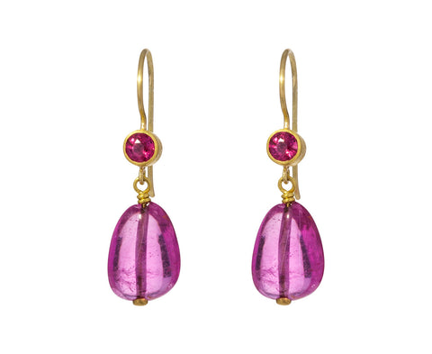 Ruby and Rubelite Apple and Eve Earrings