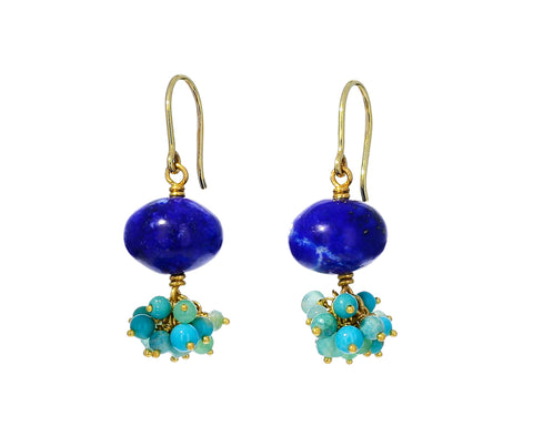 Lapis, Opal, Turquoise and Chrysoprase Sprinkle Earrings