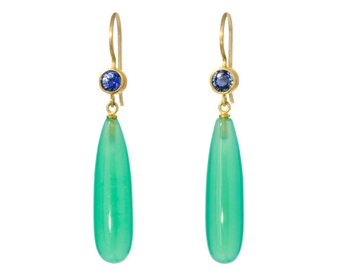 Sapphire and Chrysoprase Apple and Eve Earrings - TWISTonline