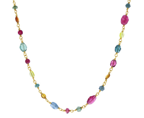 Rainbow Tourmaline Spun Sugar Necklace