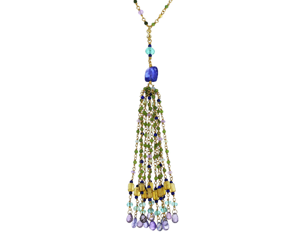 Mixed Gem Tassel Necklace