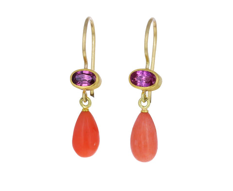 Coral and Pink Sapphire Apple and Eve Earrings