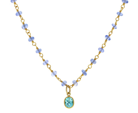 Ceylon Blue Sapphire and Mint Beryl Spun Sugar Necklace