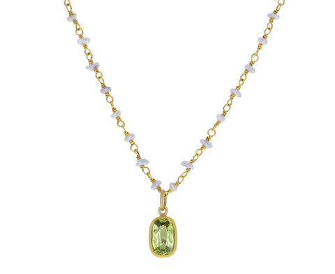 Keshi Pearl and Yellow Green Mozambique Tourmaline Spun Sugar Necklace