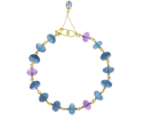 Aquamarine and Amethyst Spun Sugar Bracelet