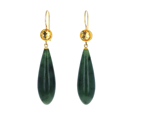 Yellow Sapphire and Dark Green Jade Apple and Eve Earrings
