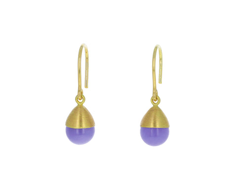 Lavender Chalcedony Buoy Earrings