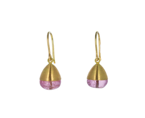 Pink Tourmaline Buoy Earrings