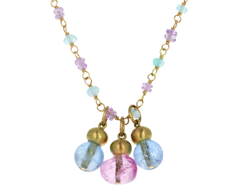 Aquamarine, Opal and Pink Sapphire Chess Pawn Buoy Necklace