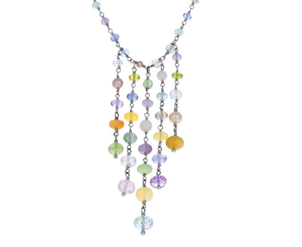 Pastel Mixed Gem Spun Sugar Panel Necklace