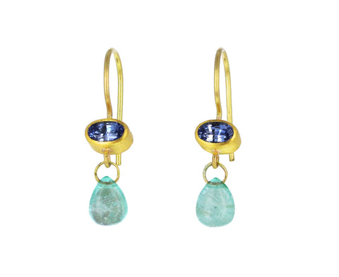 Light Blue Sapphire and Cabochon Emerald Briolette Apple and Eve Earrings