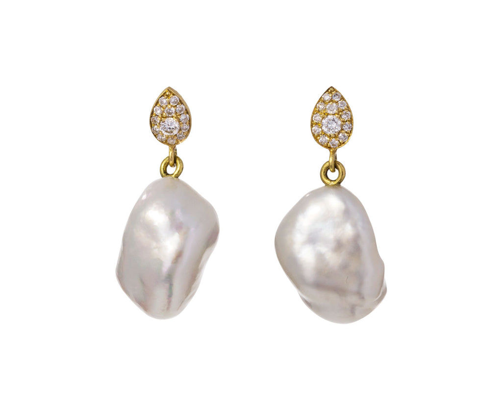 Diamond Paisley Keshi Pearl Earrings